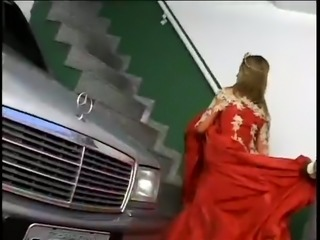 Latin bitch in red dress fucks a horny black guy in different places