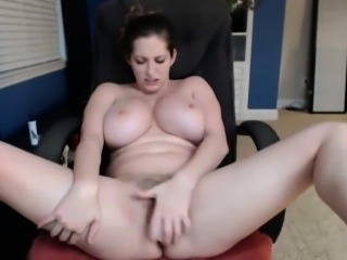 Hot-babe masturbating on camera and stroking her breasts