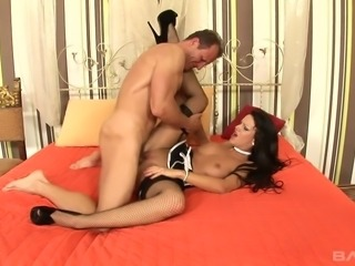 Sassy caramel skin brunette beauty in sexy black dress blows dick