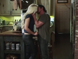 Beautiful blonde with a fantastic body enjoying a hardcore fuck on a kitchen...