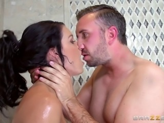 Tremendous babe with big boobs gets face fucked in the shower