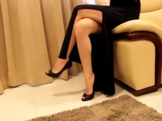 Ready to go to theatre in sexy tight dress and high heels