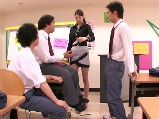 Three guys stay after class and gangbang their hot Japanese teacher