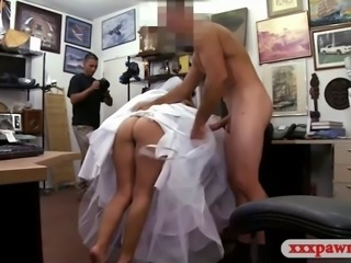 Cute blond girl wears her wedding dress and fucked hard