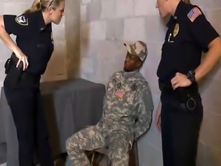 Black dude in fake army uniform stand fucking shaved plump pussy busty