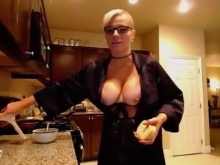 Harley - Dildo sucking & naked cooking & smoking EPIC