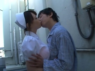 Japanese nurse wants to taste a lover's erected boner