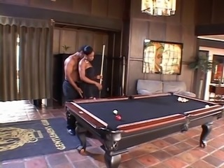 Black stud bangs ebony babe in the gameroom
