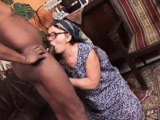Mature slut has her glasses creamed