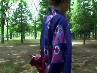 Hot geisha in uniform sucks cock in the toilets