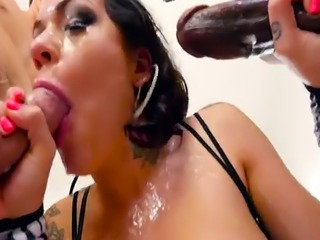Busty milf deepthroating cocks in threesome