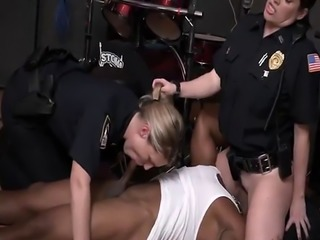 White sluts in cop uniforms force some black guy into hard interracial