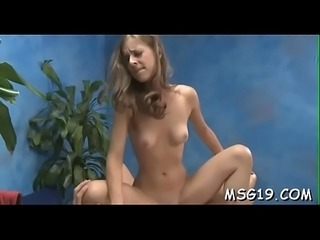 Playgirl fucked on a massage table