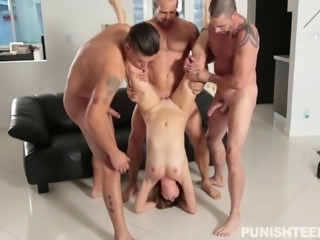 She gets her legs pinned back and fucked hard by three guys