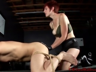 Kinky redhead with big gorgeous boobs pegging a stranger