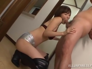 Weird brunette babe sucks the last drop of sperm out of a small dick