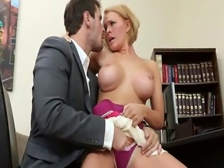 Big boob Blonde in School Office