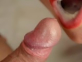 Blowjob close up, cum in mouth