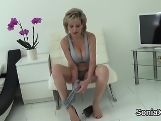 Unfaithful british milf lady sonia flashes her massive knock