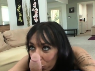 Bigtitted MILF wanks dick with her boobs POV