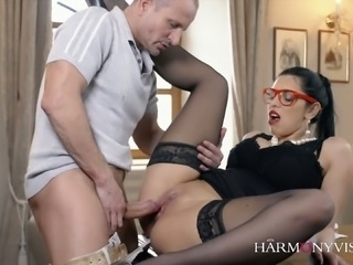 Nerdy stunning huge breasted brunette gets her slit licked at work