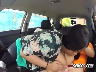 Ebony BBW Busty Cookie Screws Driving Instructor