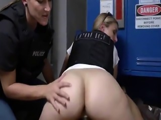 Rough fucking with nasty female cops in uniforms and big black cock