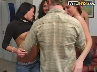 Perverted chicks strip and dance at the party arranged by horny college fellows