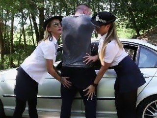 CFNM police babes sucking and wanking dick