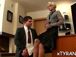 Elegant dominatrix live out her fetish fucking maid with toy
