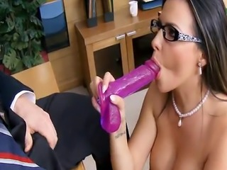 Crazy Dildo Teacher with glasses