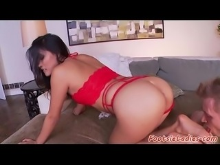 Footlicked asian beauty rides stiff cock