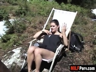 Pervy MILF loves getting fucked outside