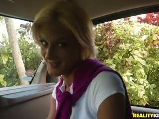 hot blonde milf gets rimmed in the car
