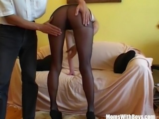 Sexy Blonde In Sexy Stockings Fingered And Fucked
