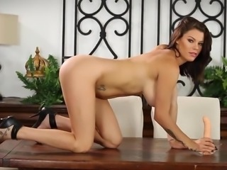 Peta has some fun alone with her toys, she sucks and fuck her dildo