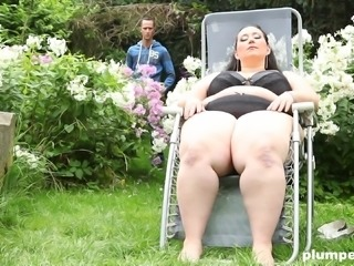 Obese brunette Jitka is mesmerized by a massive penis