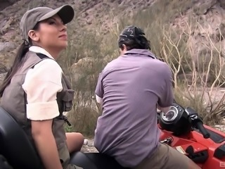 Vanessa Mae licking jizz from a tractor after outdoor pussy wasting
