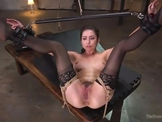 Beautiful brunette Melissa wants to become the best slave, and she's willing...