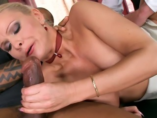 Nasty blonde bombshell gets rammed in hot interracial office threesome