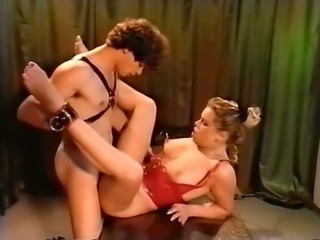 Voracious and horny white bitch in latex outfit wants to be released and fucked