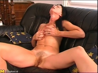 Ruth got nasty with her dildo the minute she was home alone