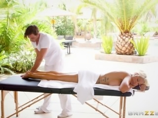 Oily massage for luscious Bridgette B and steamy pussy slamming