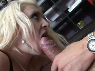 Horny blonde friends are excited about a hunk's erected cock