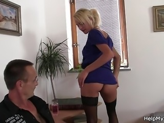 Old hubby asks lad fuck his blonde wife