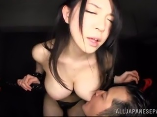 charming asian dame getting her big tits fiddled before giving out blowjob