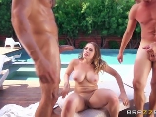 Two studs slamming the juicy pussy of seductive Rebecca More