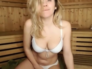 Blonde busty babe masturbation video