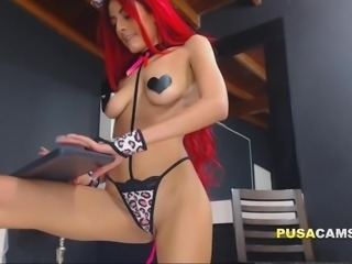 Neon Redhead Skinny Teen Squirting Shaved Pussy