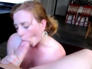 Cock sucking short haired milf pov blowjob